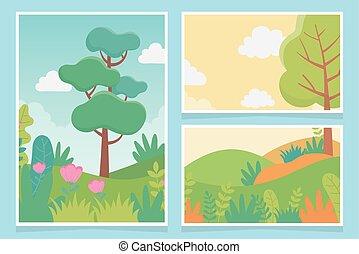 群葉, 風景, 牧草地, 草木の栽培場, カード, 木, 薮, 自然