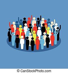 群集, ショー, サポート, 人々, 手の 上昇, vote.