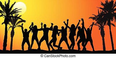 群集, ダンス, 人々, sunrise., イラスト, ベクトル, パーティー, 浜