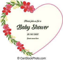 群集, フレーム, 花輪, イラスト, シャワー, ベクトル, 赤ん坊, 旗