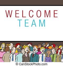 群集, 人々, 会社, 歓迎, 州, チーム, でき事