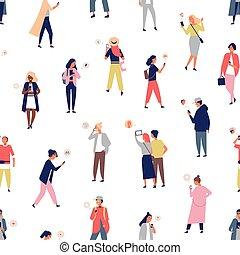 群集, 人々, 電話, messages., seamless, パターン, 若い, デジタル, 受け取ること, 平ら, 男性, 使うこと, 漫画, 女性, 発送, smartphones, illustration., モビール, ベクトル, messengers., ∥あるいは∥, 背景