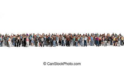 群集。, 大きい, 群集, の, 人々, 滞在, 上に, a, 線, 上に, ∥, 白, バックグラウンド。