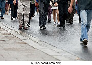 群集, 歩くこと, -, 人々のグループ, 一緒に歩くこと, (motion, blur)