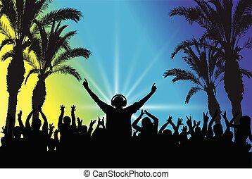 群集。, dj, ダンス, 浜, シルエット, イラスト, ベクトル, 背景, パーティー。