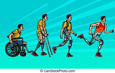 義足, 足, rehabilitation., 人, 進化