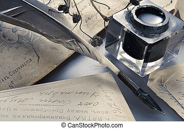 羽の ペン, インク