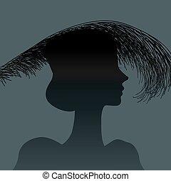 羽, シルエット, 頭飾り