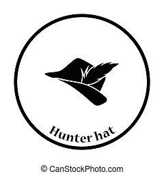 羽, ハンター, アイコン, 帽子