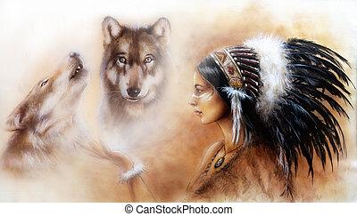 羽, 女, wo, 身に着けていること, 若い, indian, 素晴らしい, 頭飾り