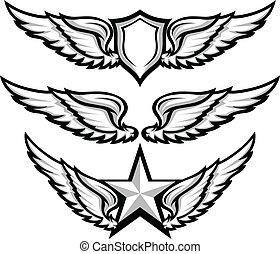翅膀, 以及, 徽章, 象征, 矢量, 圖像
