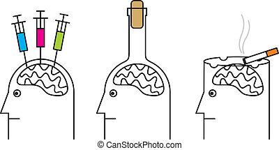 習慣, 有害, 到, health., 抽煙, 毒癮, alcoholism.