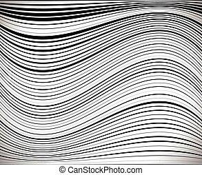 翹曲, 水平的圖形, 或者, 任意, thickness., 失真畸變, /, 波狀, 背景, 條紋, 彎曲 線, cu, effect., 彎曲