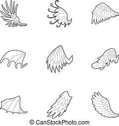 翼, の, 天使, そして, 悪魔, アイコン, セット, アウトライン, スタイル