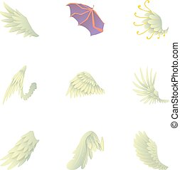 翼, の, 天使, そして, 悪魔, アイコン, セット, 漫画, スタイル