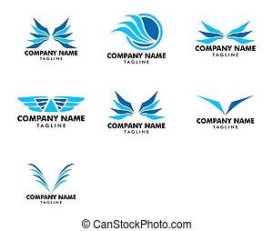 翼, セット, テンプレート, ロゴ, アイコン, デザイン, ベクトル
