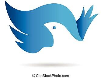 翼, ベクトル, ロゴ, bue, 鳥, アイコン