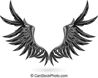 翼, ベクトル, 黒