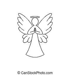 翼, 背景, ベクトル, イラスト, アウトライン, 黒, 天使, 白