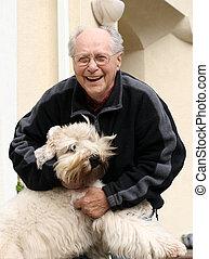 老人, そして, 彼の, 犬