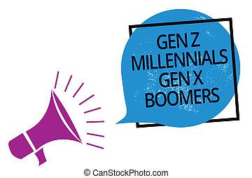 老人, テキスト, フレーム, 印, generational, 拡声器, bubble., 若い, スピーチ, 写真, 概念, メガホン, 話すこと, 青, 提示, 相違, 叫ぶこと, gen, boomers., millennials, x, z, 大声で