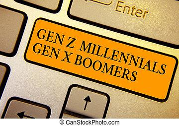 老人, テキスト, 印, コンピュータ, generational, キーボード, 作成しなさい, 計算, 若い, intention, 写真, オレンジ, 提示, 相違, 概念, キー, gen, 反射, boomers., millennials, x, z, document.