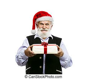 老人, 在, 圣帽子, 由于, 禮物