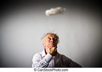 老人, 在, 白色, 以及, 小, 雲