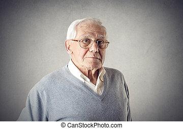 老人, 在, 眼鏡