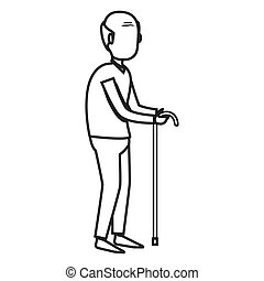老人, disable, 被隔离, 圖象