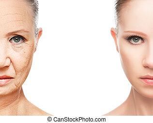 老化, 概念, 心配, 皮膚