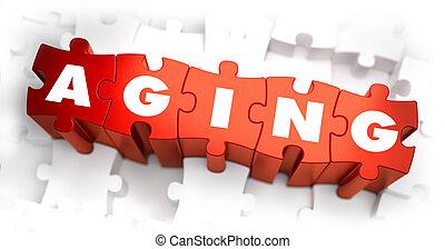 老化, puzzles., 単語, -, 白い赤