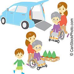 老婦女, 在, 輪椅