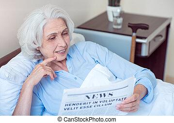 老婦女, 在, 醫院沃德
