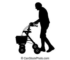 老婦女, 由于, 步行的框架