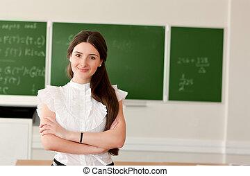 老師, 在背景上, ......的, 黑板