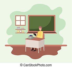 老師, 在, the, 教室