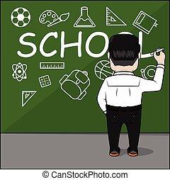 老師, 寫, 學校, 上, 粉筆, 蟒蛇