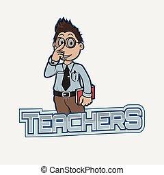 老師, 旗幟, 插圖, 設計
