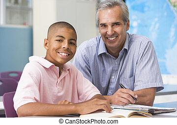 老師, 給, 個人的指令, 到, 男性的學生