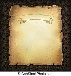 老年, 老, 紙卷, 羊皮紙, 由于, 帶子, 圖像, 上, 黑暗, 布朗, 皮革, texture., 矢量, 插圖,...