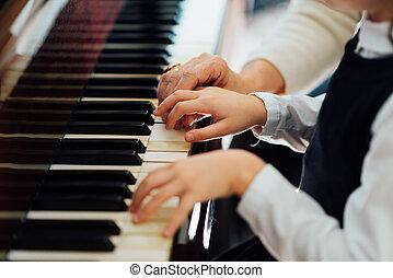 老練, 掌握, 鋼琴, 手, 幫助, the, 學生