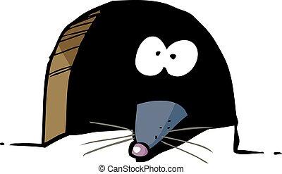 老鼠, 在, 洞