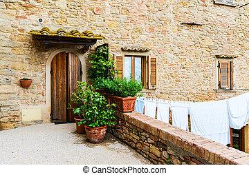 老, 傳統, 房子, 在, the, 具有歷史意義, 鎮, ......的, volterra