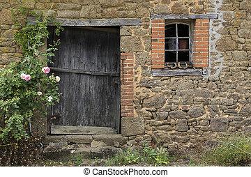 老, 农场建筑物, -, 乡村, 建筑学