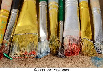老, 刷子, 桌面, 骯髒,  artist's, 顏色