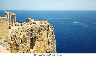 老, 城堡, 在, the, lindos, 鎮, rhodes, 希臘