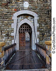 老, 城堡, 門, 以及, 吊橋