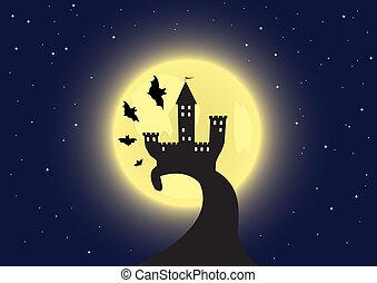 老, 大約, 飛行, 月亮, 蝙蝠, 背景, 城堡