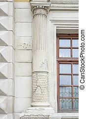 老, 專欄, 上, a, 建築物, 由于, a, 裂縫